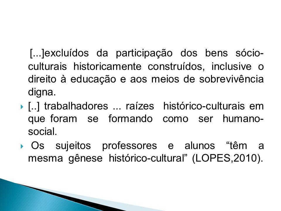 [...]excluídos da participação dos bens sócio- culturais historicamente construídos, inclusive o direito à educação e aos meios de sobrevivência digna.